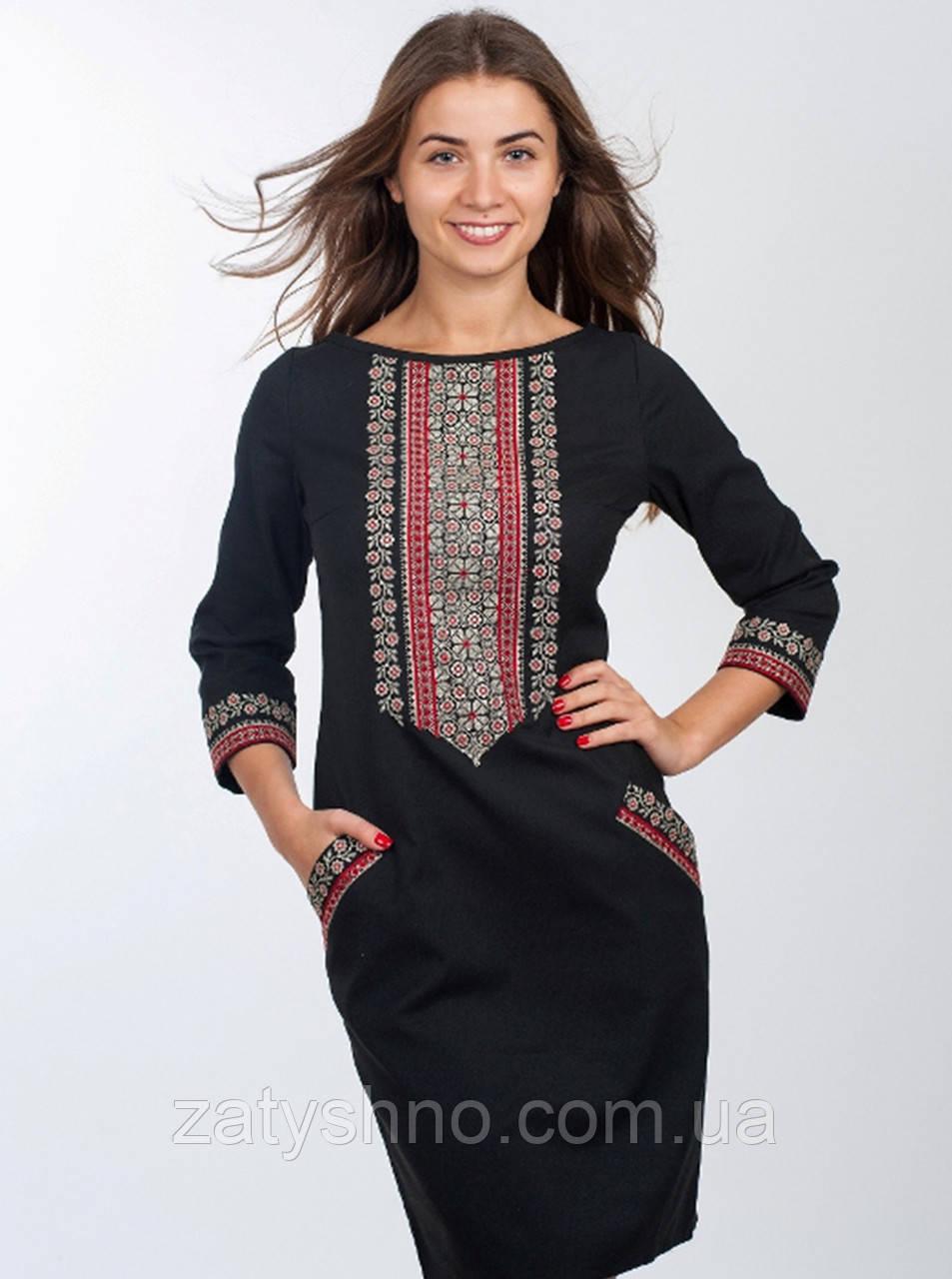 Черное платья вышиванка с карманами