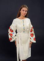Нарядное вышитое платья с цветами на рукавах, фото 1