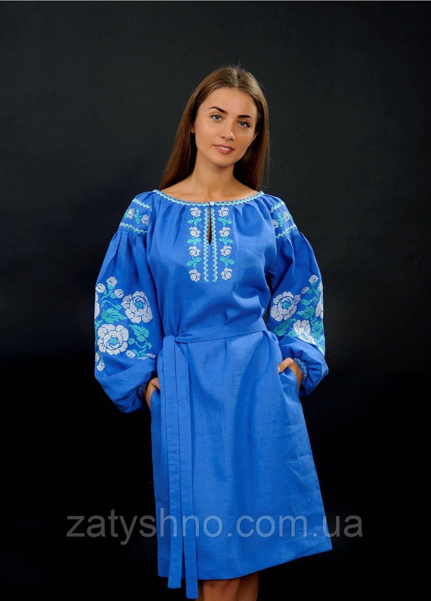 Вышитое платья с длинным рукавом нарядное