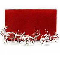 Слоны хрустальные (набор 7 шт)(26х16х6 см) , Изделия из хрусталя