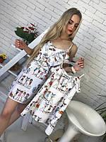 Одежда мама и дочка принтованное летнее платье 51NA03