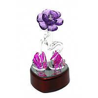 Лебеди хрустальные с цветком с подсветкой (12х6х6,5 см)a , Изделия из хрусталя