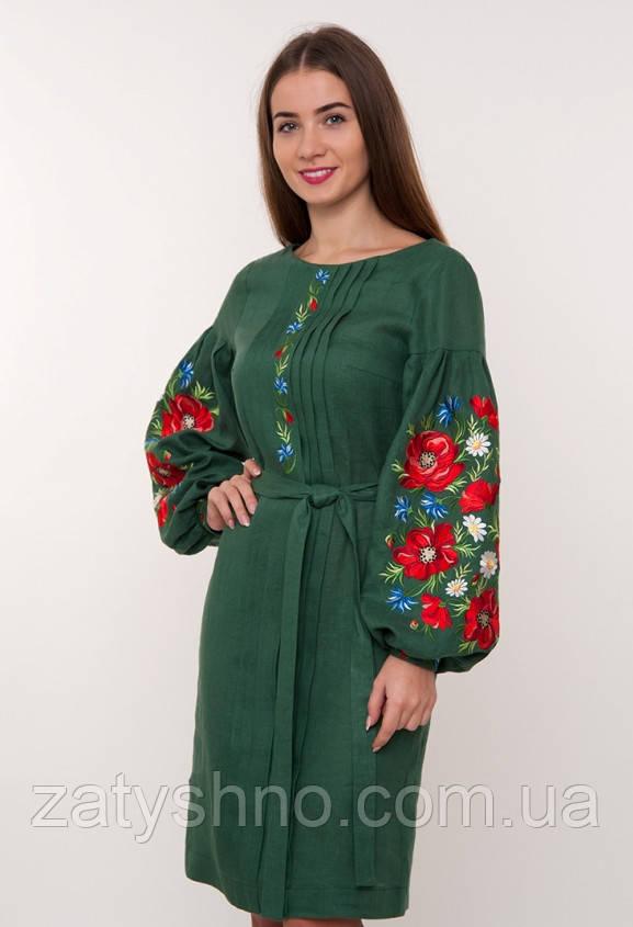 Вышитое платья с маками на руках, оригинальное