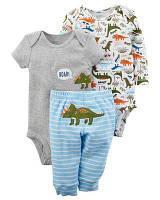 Комплект-тройка Carters для малышей размер 18М принты динозавриков коттон 100% оригинал Картерс