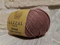 Пряжа для вязания Gazzal ORGANIC BABY COTTON (органик беби котон) гипоаллергенный хлопок -433 коричневый