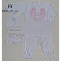 Крестильный комплект для девочки (розовая вышивка) 68р