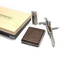 Подарочный набор (Зажигалка, портсигар, нож) , Курительные аксессуары