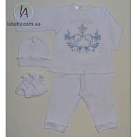 Крестильный комплект для мальчиков (голубая вышивка) 68р