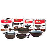 Набор посуды Биол Гранит браун Гриль-Вок MIX сковорода 24 см, гриль 26 см, Вок 28 см и кастрюля 4 л с крышками