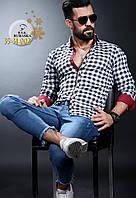 Стильная мужская рубашка в клетку на байке по низким ценам