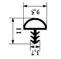 Уплотнитель для межкомнатных деревянных дверей 10мм под паз 3мм