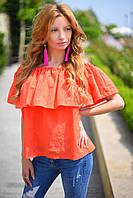 Женская стильная блузка с оборкой на резинке и вышивкой, фото 1