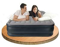64136 надувная кровать со встроен.насосом 203*152*42см