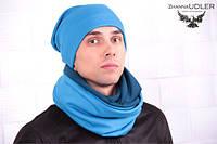 Шарф-снуд голубой с морской волной + шапка, фото 1