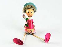 Фигурка Декор Металл Сидит Девочка с Цветочком