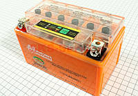 Аккумулятор 7Аh-12N7-4B  (гелевый, оранж С ИНДИКАТОРОМ)  135*75*130мм-Мотоцикл