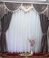 Комплект штор с ламбрекеном для зала, спальни Adriana (шоколад)