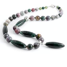 Яшма зеленая колье, ожерелья и бусы