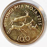 Монета Танзании 100 шиллингов 2015 г. Антилопы