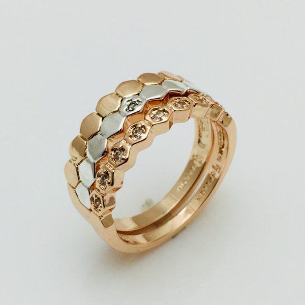 Женское кольцо Двойное , размер 17