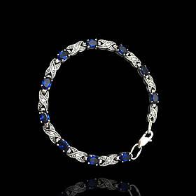 Срібний жіночий браслет з синіми фіанітами, 195мм