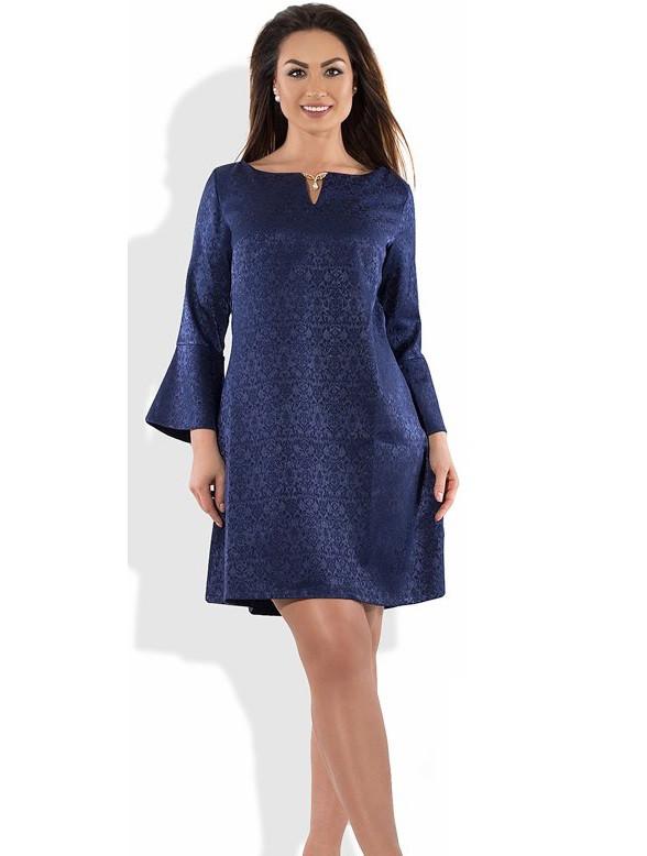Красивое женское платье с брошкой темно-синее размеры от XL ПБ-480