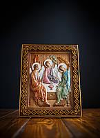 Икона деревянная/Святая Троица/резная икона