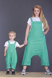 Напівкомбінезон дитячий літній льон 80-86
