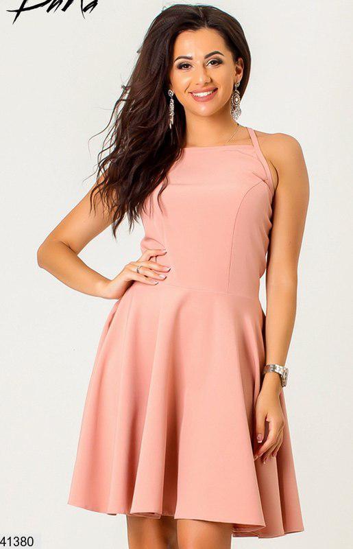 Летнее платье мини юбка солнце клеш без рукав пудра