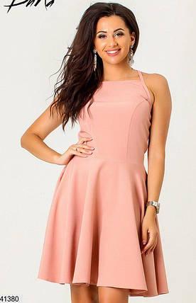 Летнее платье мини юбка солнце клеш без рукав пудра, фото 2