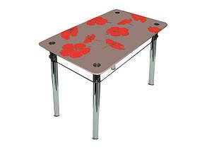 Стол обеденный стеклянный Лилия Розовый/красные цветы 90х65 (Sentenzo TM), фото 2