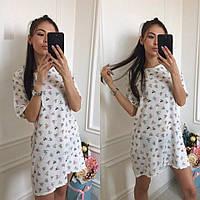 Стильное лёгкое женское платье с принтом