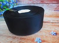Лента репсовая однотонная, цвет ЧЕРНЫЙ, 5 см.