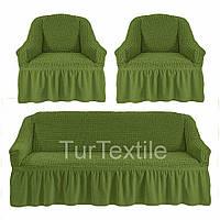 Чехол на диван и два кресла Разные цвета Оливковый