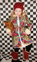 Зимняя детская шубка-пальто из платка