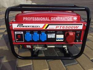 Генератор бензиновый 3-х фазный Powertech 4,5 кв (PT6500W), Германия