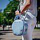 Модная женская голубая сумка из натуральной кожи и замши. Пошив под заказ в любом цвете, фото 3