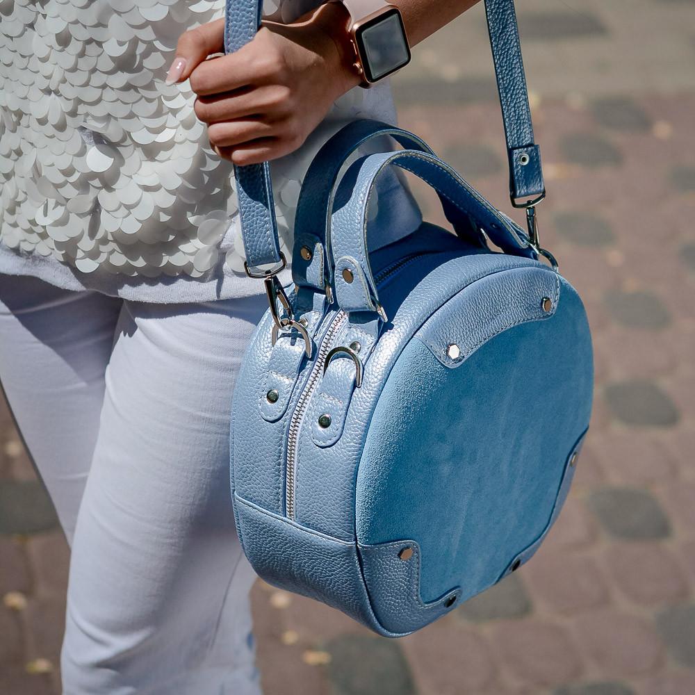 Модная женская голубая сумка из натуральной кожи и замши. Пошив под заказ в любом цвете