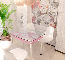 Стол обеденный стеклянный Лето 90х65 (Sentenzo TM), фото 2