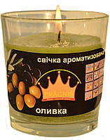 Свеча в стакане Арома оливка GA68-OLV, ТМ Pragnis