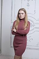 Женское платье вязаное с воротником, осень-зима (АК-025