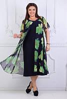 Женское платье летнее с шифоновой накидкой, с 56-62 размер, фото 1