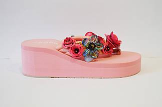 Розовые вьетнамки с цветами Sopra 10011, фото 2