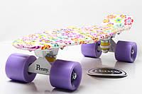 Скейт Пенни Борд Print, Penny Board Original 22 c Рисунком Цветочки