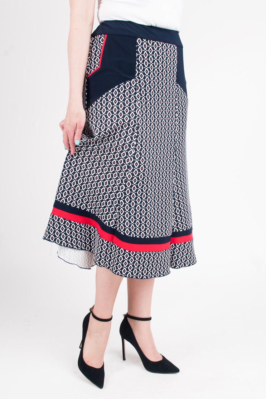 Женская юбка Розана на резинке синяя с красной полоской