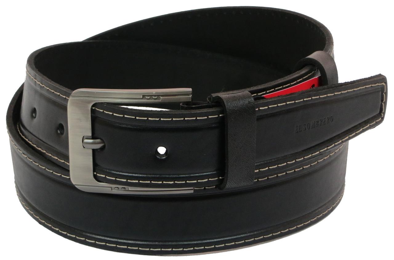 Мужской кожаный ремень под джинсы Skipper 1082-38 черный ДхШ: 130х3,8 см.