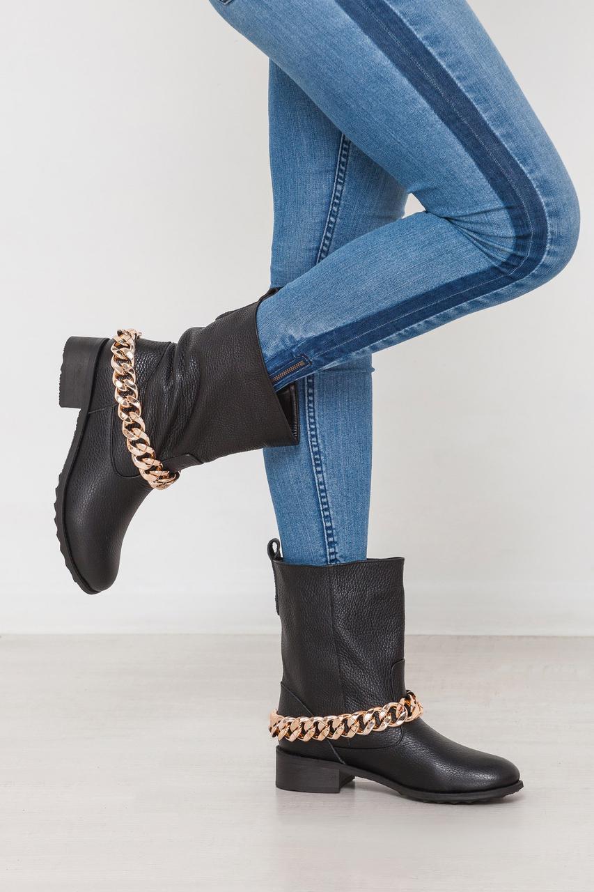 Модные ботинки с крупной цепью натуральная кожа