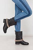 Модные ботинки с крупной цепью натуральная кожа, фото 1
