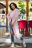 Красивый легкий вязаный кардиган с перышками, фото 1