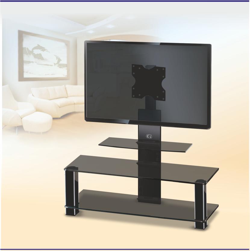 Стеклянная тумба с кронштейном для телевизора Эффект Black (1050х420х1050)